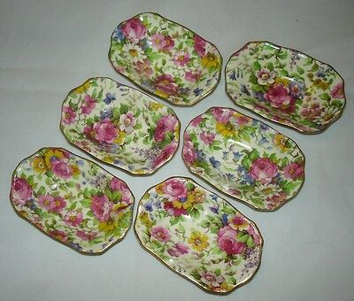 Set of 6 Vintage Royal Winton Summertime Chintz Nut Dishes