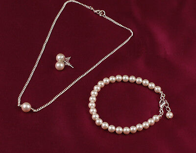 Lovely Bridal Jewellery Set Made with Swarovski Pearls Silver or Plated