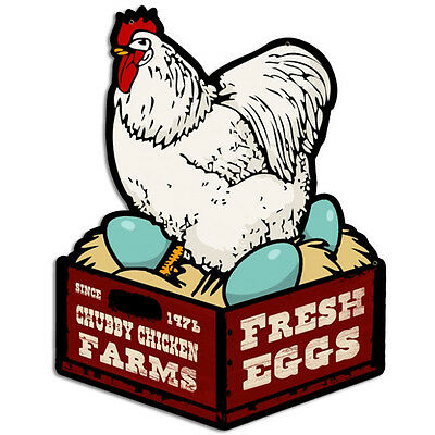 Fresh Eggs Chubby Chicken Funny Vintage Farm Stand Kitchen Metal Sign 14 x 18