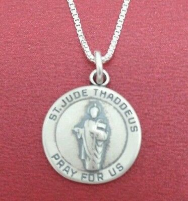 Sterling Silver St Jude Necklace solid 925 pendant and chain saint