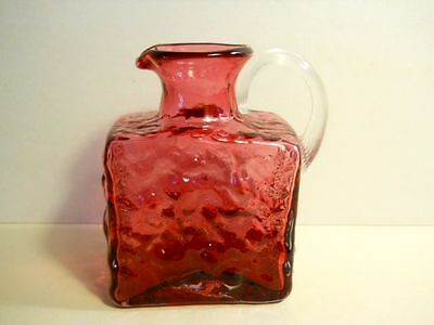 Pilgrim Glass Hand Blown Cranberry Square Pitcher with Clear Ribbed Handle
