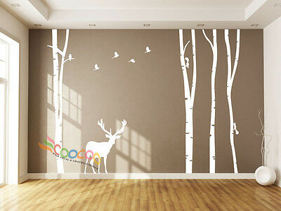 """Wall Decor Decal Sticker large birch tree trunk forest 4 trees with Deer 96""""H"""
