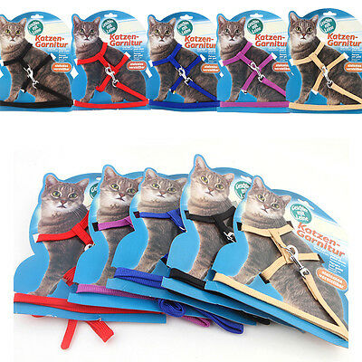 Nylon Pet Cat Kitten Free Adjustable Harness Leash Set Collar Safety Rope Lead
