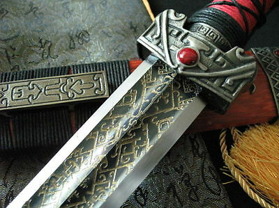 Three Chibi sword carbon steel engraving blade Alloy fittings Mahogany scabbard