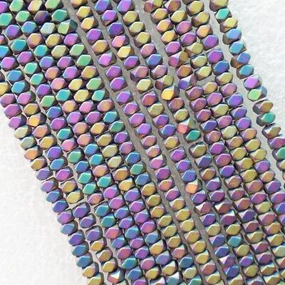 Faceted 3x2mm Multicolor Hematite loose bead 15.5 inch R4309