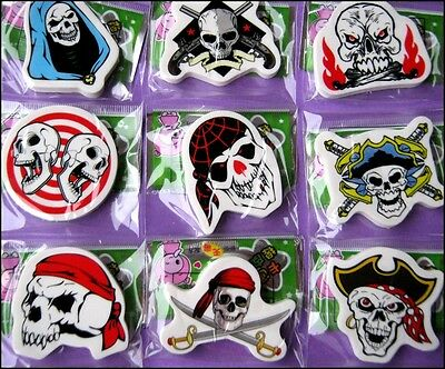 Bulk Lot x 6 Mixed New PIRATE + Skull Rubber Erasers Party Favors Novelty Toy