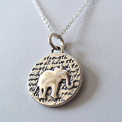Elephant Charm Necklace - 950 Sterling Silver - Handmade - Inspirational *NEW*