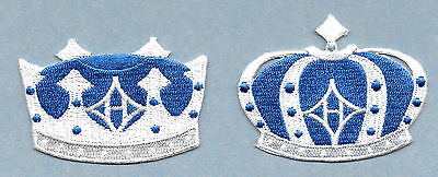 (Set Of 2) Crown - King - Queen - Royal Blue Fully Embroidered Applique Patches