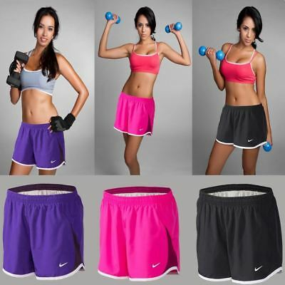New Nike Womens Ladies Gym Sports Running Shorts Black Purple Pink Xs-L Sizes
