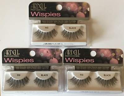 Ardell  Wispies Glamour Lashes **113** Black X 3 Packs **special Offer**