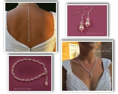 Delicate Small Beaded Bridal Jewellery Set With Backdrop -  Wedding