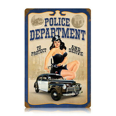 Police Department Pin Up Girl Metal Sign Steel Police Station Decor 11.5 x 17.5
