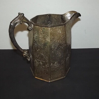 Antique English or Dublin Silverplate on Copper Water Pitcher Silver plate Jug