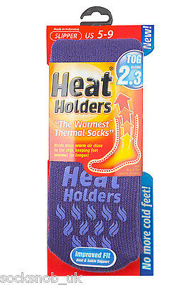 Ladies Genuine Heat Holders Slipper Gripper Non slip Socks Violet 4-8 uk