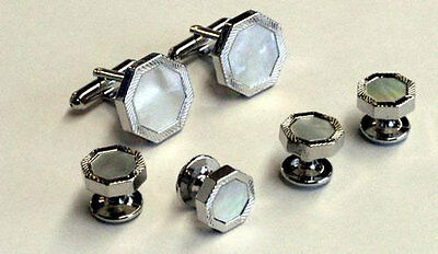 Mother of Pearl in Feather Face Octagon Setting Tuxedo Cufflinks and Studs