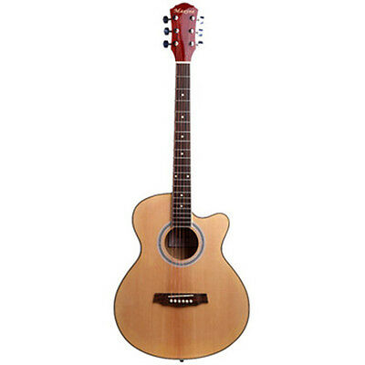 """40"""" Handcrafted Steel String Dreadnought Natural Folk Acoustic Cutaway Guitar"""