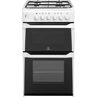Indesit IT50GW Freestanding 50cm White Twin Cavity Gas Cooker Easy Clean New