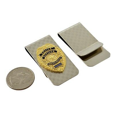 Police Officer Money Clip Mini Badge Thin Blue Line Chrome Silver Cop Gift