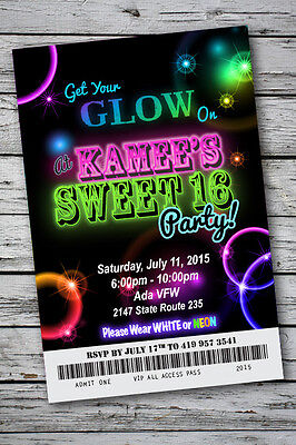 Sweet 16 GLOW in the Dark Theme NEON DISCO Birthday Party Invitation 4x6