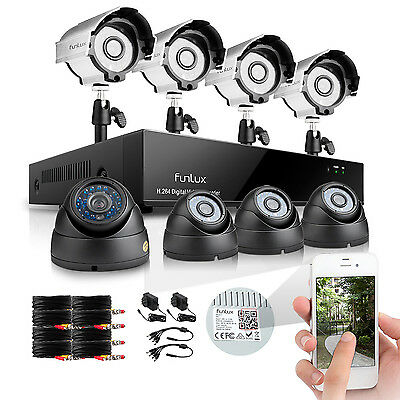 Funlux® 8CH 960H Recorder Outdoor Home Video Security Camera System Night Vision