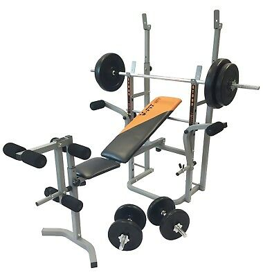 V-fit STB09-4 Folding Weight Bench with 50Kg Cast Iron Weight Set r.r.p £320.00