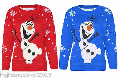 New Kids XMAS Unisex Novelity Olaf Frozen With 3D Nose Christmas Jumpers 5-12 Yr