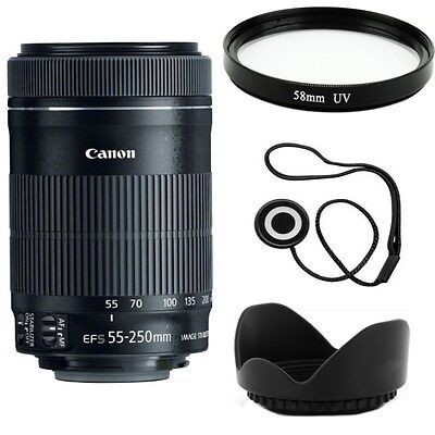 Canon EF-S 55-250mm F4-5.6 IS STM Telephoto Zoom Lens + UV Filter