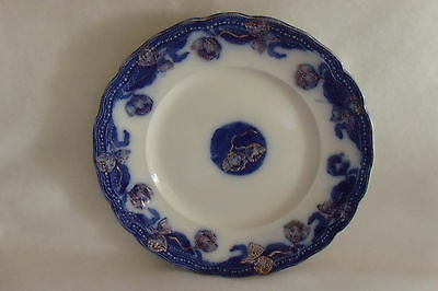 """Geneva New Wharf Pottery F.P. Flow Blue w/an Overlay of Gold 9.75"""" Plate"""
