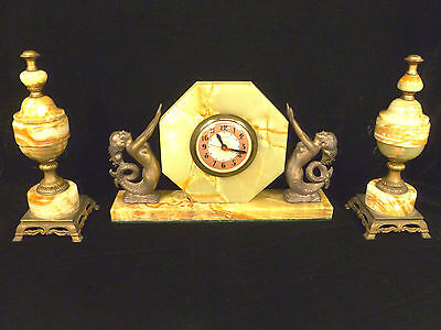 Art Deco Sessions Onyx Mermaid Mantel Clock Set With Garnitures – Circa 1936
