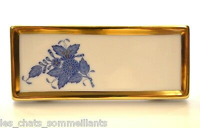 HEREND, CHINESE BOUQUET BLUE PORCELAIN PLACE CARD(S), NEW