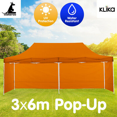 ORANGE 3x6 WALLAROO POPUP OUTDOOR GAZEBO FOLDING TENT PARTY MARQUEE SHADE CANOPY