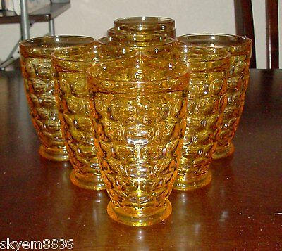 7 Federal Glass Yorktown Yellow Topaz Golden Tumblers Juice Set Only ones line