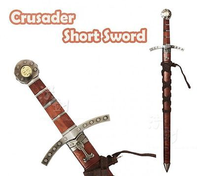 """22"""" Medieval Crusader Dagger Knights of Templar Sword With Sheath Brown New"""