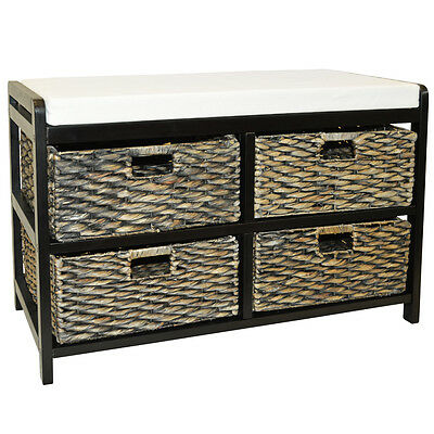 CANTERBURY - Double Shoe Storage Bench with Baskets - Brown / Black KYS35996