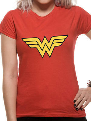 Wonder Woman Logo Woman's Red Cotton Fitted T-Shirt Short Sleeve - DC Licensed
