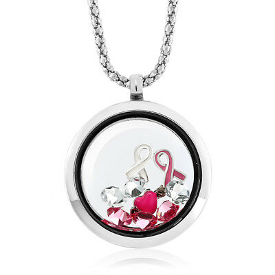 Breast Cancer Awareness Floating Ribbon Multi-Colored Crystals Locket Pendant