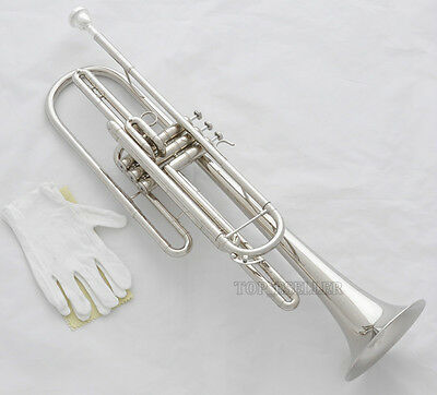 Professional Bass Trumpet Silver Nickel 3 Piston B-Flat Horn Brand New With Case