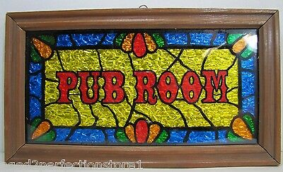 Vintage PUB ROOM Sign old framed foil bar beer liquor advertising 1960-70s era