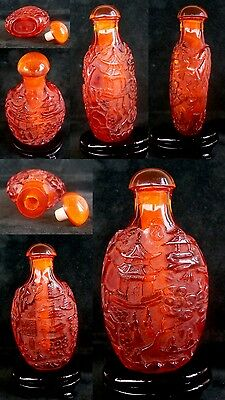 CHINESE - ANTIQUE-CARVED- SNUFF-BOTTLE  SIZE5.8.3x4.5cms-LOT448912