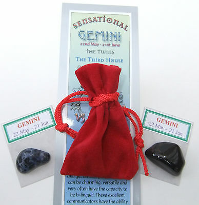 GEMINI-Bookmark-Birthstones-Red Velvet pouch-'Astrology the Secret Code' book