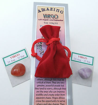 VIRGO-Bookmark-Birthstones-Red Velvet pouch-'Astrology the Secret Code' book