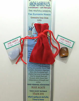 AQUARIUS-Bookmark-Birthstones-Red Velvet pouch-'Astrology the Secret Code' book