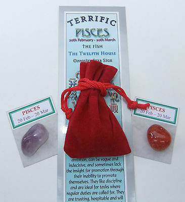 PISCES-Bookmark-Birthstones-Red Velvet pouch-'Astrology the Secret Code' book