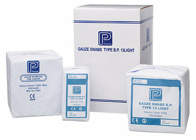 Pack of 100 - First Aid GAUZE SWABS - 5cm x 5cm - Non sterile Medical (8ply), CE
