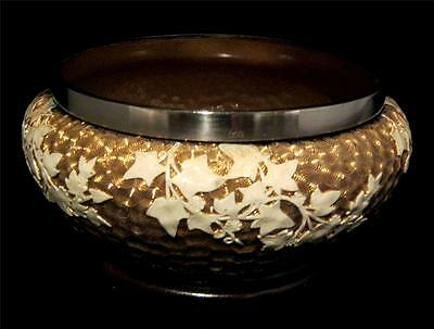 Doulton Burslem Bowl Vase with Silver-Plated Rim Hand Painted and Gilt Flowers