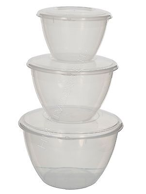 0.6/1.2/2Litre Plastic Pudding Bowl Basin With Lid Round Xmas Microwave Storage
