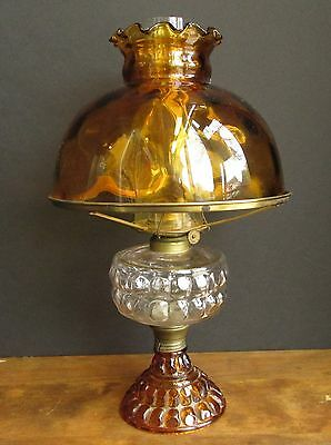 """Antique Edwardian EAGLE Student Type OIL LAMP With Amber Glass Shade 17"""" Tall"""