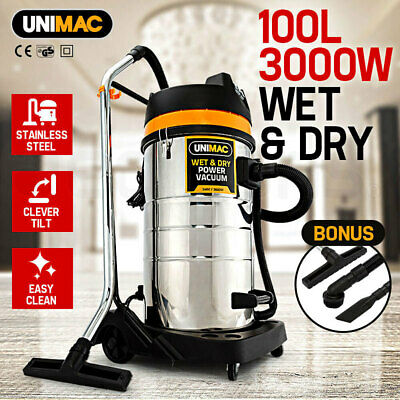 NEW UNIMAC 100L Wet & Dry Vacuum Cleaner - 3000W Commercial Grade Vac Drywall