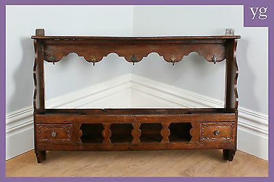 Antique French Kitchen Wall Hanging Shelf Plate Cup Spice Herb Book Rack c.1850