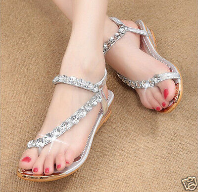 New Hot silver Bohemia thong women's leisure sandals China's size 37